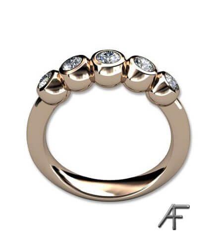 alliansring med 5 st diamanter