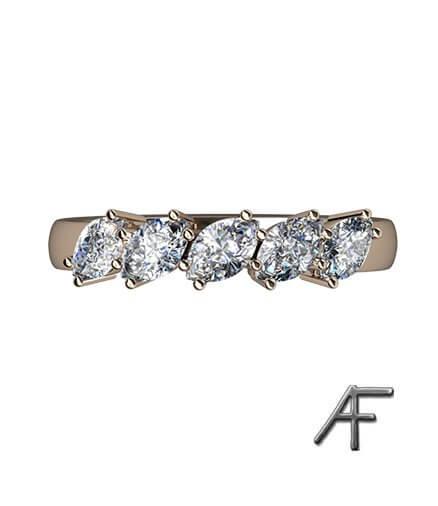 alliansring med marquise slipade diamanter