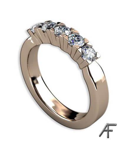 alliansring i rött guld med 5 st diamanter