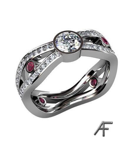 alliansring exklusiv med rubiner och diamanter