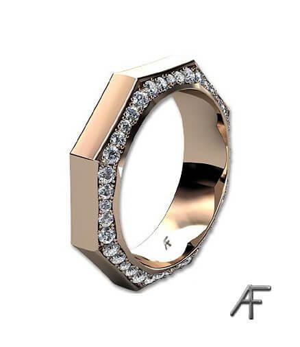 åttkantig alliansring med diamanter