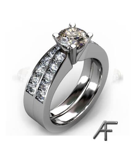 brun diamant och vita briljantslipade diamanter samt alliansring vitguld