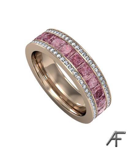 eternity rosa safirer och diamanter