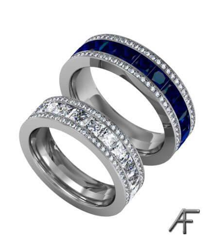 eternity vigselring herr och dam med diamanter och blå safirer