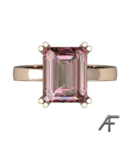 ring i rött guld med rosa turmalin