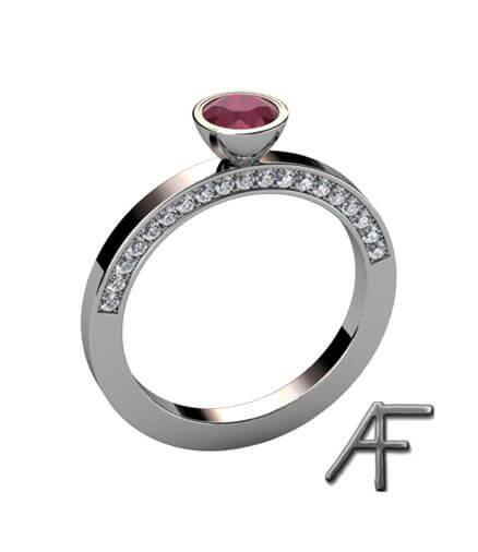 vitguldsring med rubin och diamanter