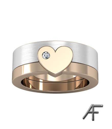 hjärtring 18 k guld med diamant