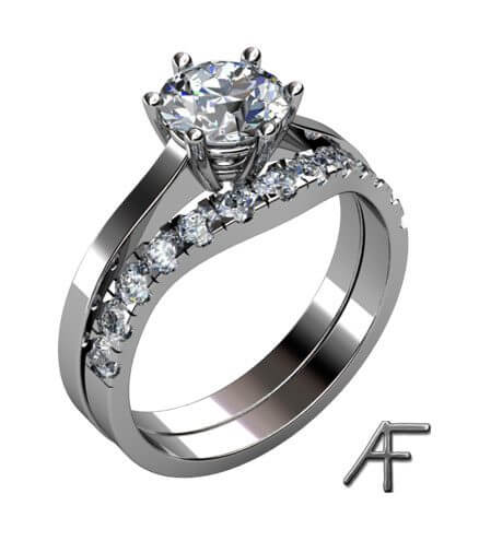 platinaring diamant 1.5 ct med passande alliansring