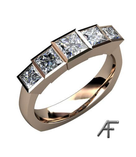 prinsess slipade diamanter i ring i rött guld