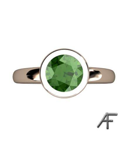 guldring grön turmalin