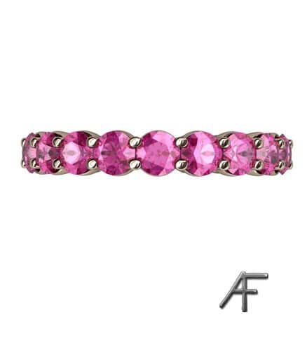 rosa safirer helalliansring