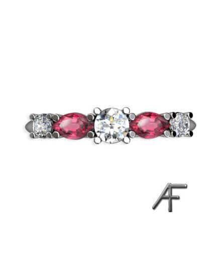 alliansring med rosa spineller och diamanter