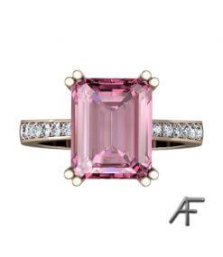 Rosa turmalin och diamanter