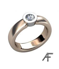 diamantring i rött och vitt guld