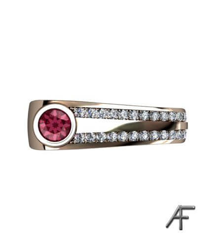vigselring 4 you med diamanter och röd spinell