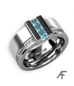 vigselring brygga med blå diamanter