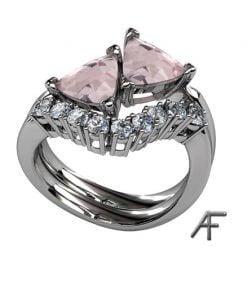 vigselring med morganiter och diamanter