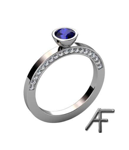 ring vitguld med blå safir och diamanter