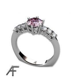 vitguldsring med rosa spinell och diamanter