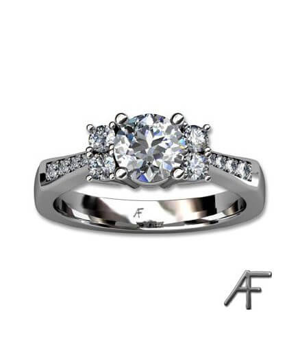 ring i 18 k vitt guld med diamanter