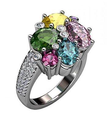 exklusiv vigselring diamanter och färgstenar