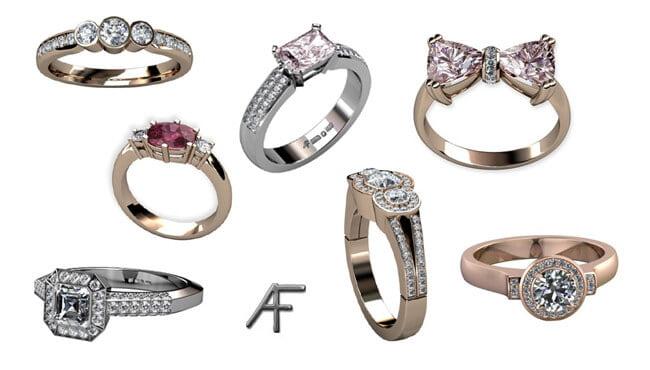 olika diamantringar designade av Anders Fors